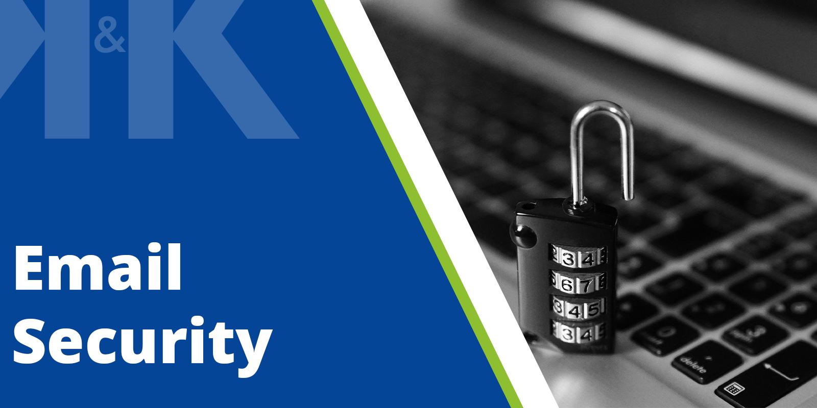 """Vorschaubild für einen Blogpost zum Thema: """"Email Security"""". Es zeigt den Textzug """"Email Security"""". Gestaltet im Corporate Design der K&K Software AG."""